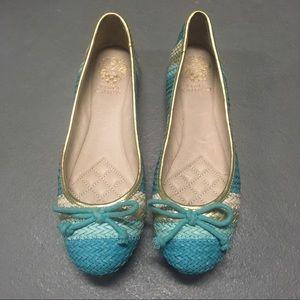 NWT Vince Camuto Blue & Gold Ballerina Flats